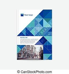 fotografia, nowoczesny, projektować, style., triangle, błękitny, przestrzeń, polygonal, zameldować, szablon, logo., płaski, magazyn, układ, ilustracja, lotnik, tekst, broszura, kreska, roczny, osłona, wektor, a4