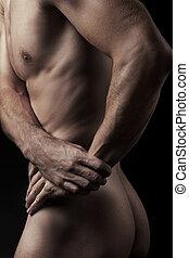 fotografia, od, młody, muskularny, człowiek