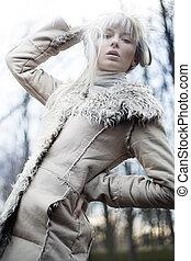 fotografia, od, niejaki, piękny, blondynka