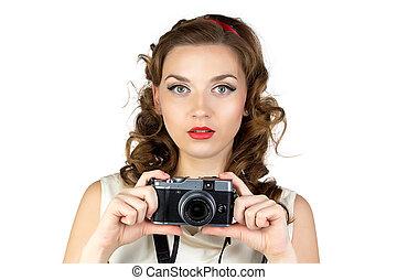 fotografia, od, przedimek określony przed rzeczownikami, młoda kobieta, z, retro, aparat fotograficzny