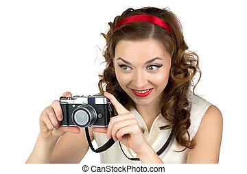 fotografia, od, przedimek określony przed rzeczownikami, szczęśliwa kobieta, z, retro, aparat fotograficzny