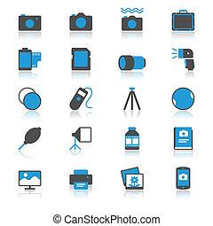 fotografia, płaski, z, odbicie, ikony