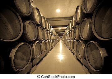 fotografia, piwnica, rocznik wina, stary