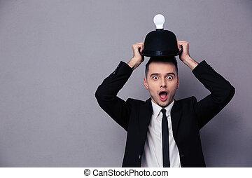 fotografia, pojęcie, posiadanie, idea, biznesmen