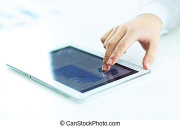 fotografia, przestrzeń, tablet., up.businessman, cyfrowy, zamknięcie, używając, kopia