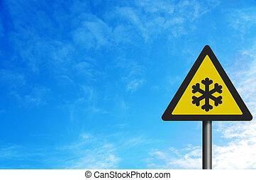 fotografia, realistyczny, ', ryzyko, od, ice', znak, odizolowany, na białym