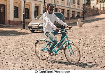 fotografia, rower, tokarski, troskliwy, człowiek, pień