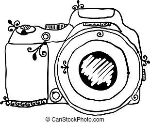 fotografia, rys, aparat fotograficzny, pociągnięty, ręka
