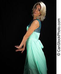 fotografia studia, od, piękna kobieta, w, strój