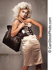 fotografia, styl, fason, blondynka, młody