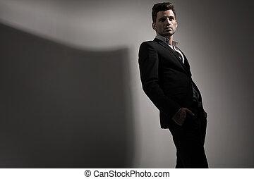 fotografia, styl, fason, młody mężczyzna