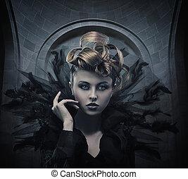 fotografia, styl, kobieta, gotyk, moda