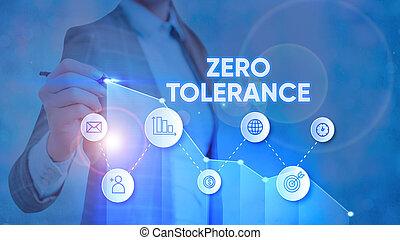 fotografia, tekst, niewłaściwy, pokaz, tolerance., konceptualny, znak, zero, zachowanie, aspołeczny, odmowa, albo, uznawać, behaviour.