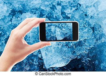 fotografia, wziąć, lód kryształy