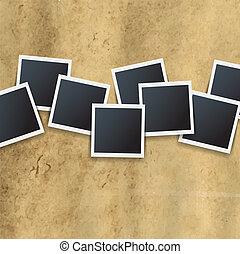 fotografias, borda, isolado, fundo, retro