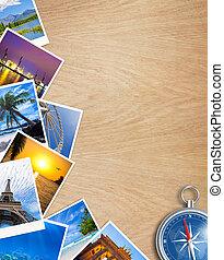 fotografias, colagem, madeira, viajando, compasso, tabela