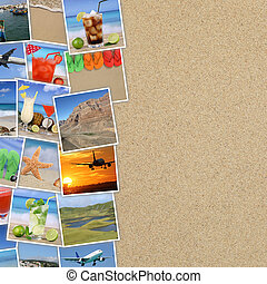 fotografias, de, férias verão, praia, bebidas, viajando, feriado, e, copyspace
