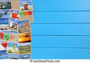fotografias, de, férias verão, praia, viajando, mar, feriado, e, copyspace