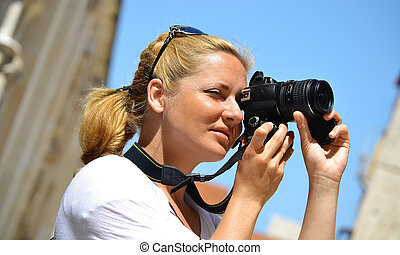 fotografias, levando, mulher, rua