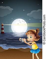 fotografias, levando, praia, menina