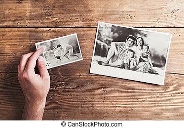 fotografias, ligado, um, tabela