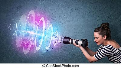 fotografias, luz, poderoso, viga, fotógrafo, fazer, menina