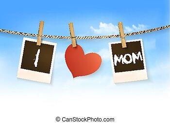fotografias, pendurar, um, varal, soletrando, saída, i, amor, mom., dia mãe, experiência., vector.
