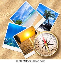 fotografias, praia areia, viajando, compasso