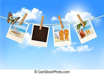 fotografias, rope., férias, vector., penduradas