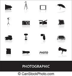 fotografický, ikona, eps10