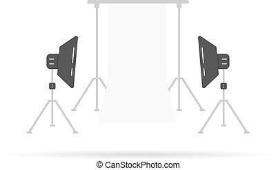 fotografico, scena, softboxes