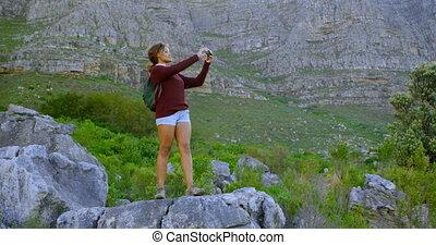 fotografie, samica, mlaszcząc, aparat fotograficzny rocznika...