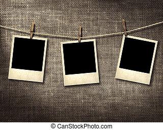 fotografie, stile, polaroid, clothesline, appendere
