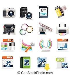 fotografie, vector, set, pictogram