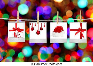 fotografier, artikeln, avbildar, jul, themed