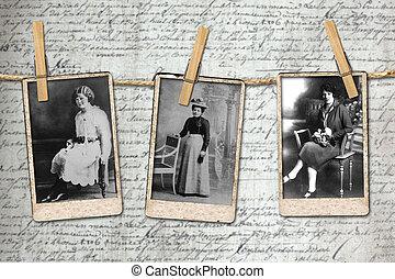 fotografier, av, 3, årgång, era, kvinnor, hängande, a, rep