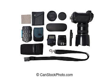 fotografo, bianco, macchina fotografica, fondo, apparecchiatura