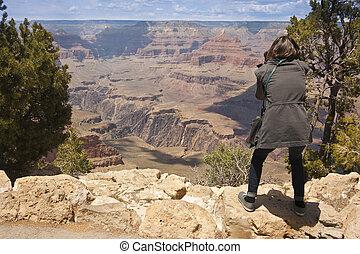 fotografo, canyon, riprese, grande