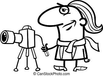 fotografo, cartone animato, coloritura, pagina