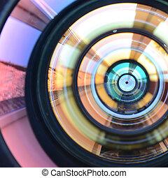 fotografo, chiudere, vista., macro, concetto, o, lavoro, lente, uomo, su, macchina fotografica, foto