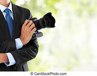 fotografo, con, dslr, macchina fotografica
