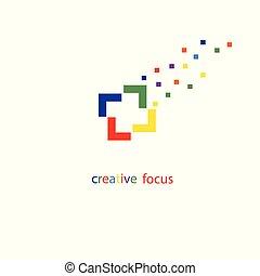 fotografo, logo., fuoco, logotipo, creativo