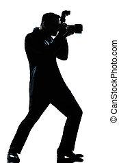 fotografo, lunghezza, pieno, silhouette, uomo