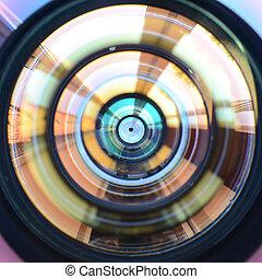 fotografo, macchina fotografica, foto, lente, chiudere, macro, o, lavoro, uomo, vista., su, concetto