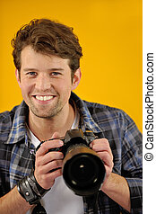 fotografo, macchina fotografica, slr, felice