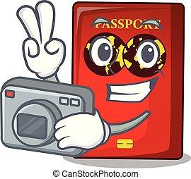 fotografo, mascotte, rosso, passaporto, tavola