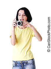 fotografo, primo piano, donna, giovane