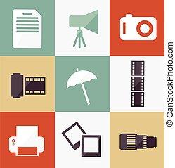 fotografo, set, illustrazione, icona