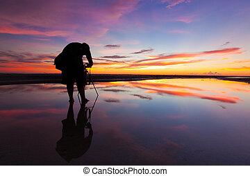 fotografo, silhouette, sole