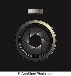 fotografo, simbolo, lente